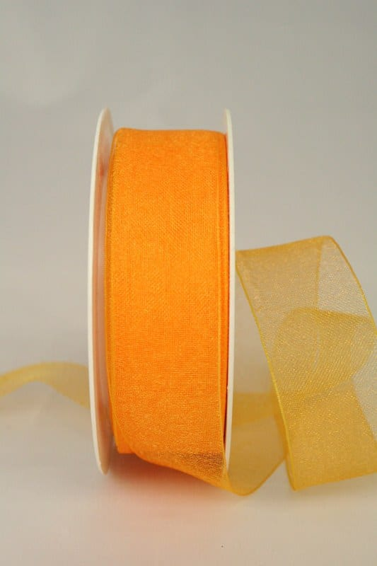 Organzaband mit Webkante, 25 mm breit, dottergelb - organzaband-einfarbig, 30-rabatt