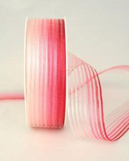 Organzaband rot-rosa mit Streifen, 25 mm - organzaband-gemustert, 70-rabatt