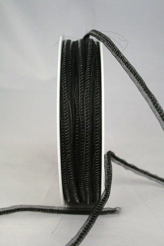 Schmales Organzaband mit Draht, 3 mm, schwarz - organzaband-gemustert, organzaband-einfarbig, 70-rabatt