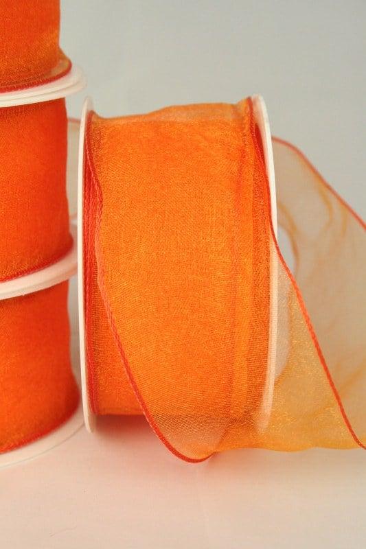 Organzaband mit Drahtkante, 40 mm, orange, 3 m Rolle - organzaband-mit-drahtkante, organzaband-einfarbig, 70-rabatt