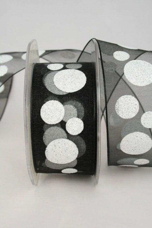 Organzaband mit glitzer Kreisen, schwarz-weiß, 40 mm - weihnachtsband, organzaband-weihnachten, geschenkband-weihnachten
