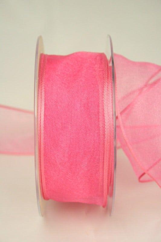 Organzaband pink, 40 mm, mit Drahtkante - organzaband-mit-drahtkante, organzaband-einfarbig