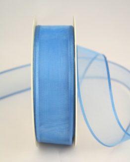 Organzaband mit Webkante, blau, 25 mm - sonderangebot, organzaband-einfarbig