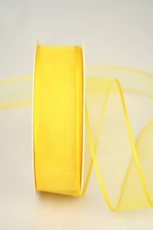 Organzaband mit Webkante, gelb, 25 mm - sonderangebot, organzaband-einfarbig