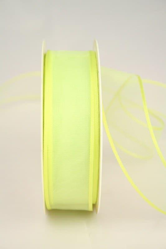 Organzaband mit Webkante, grasgrün, 25 mm - sonderangebot, organzaband-einfarbig
