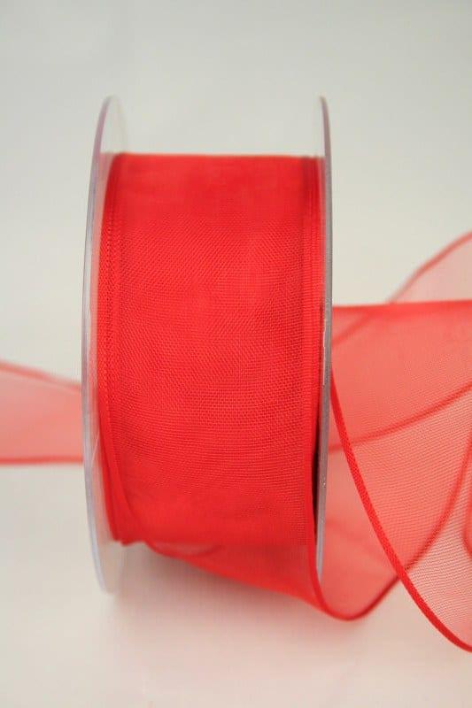 Organzaband mit Webkante, rot, 40 mm - sonderangebot, organzaband-einfarbig