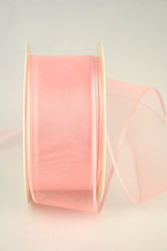Organzaband mit Webkante, rosa, 40 mm - sonderangebot, organzaband-einfarbig