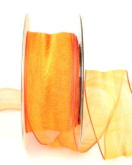 Organzaband Valencia, orange, 40 mm - organzaband-gemustert, 50-rabatt