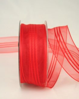 Organzaband mit Streifen, rot, 40 mm - organzaband-gemustert, 50-rabatt