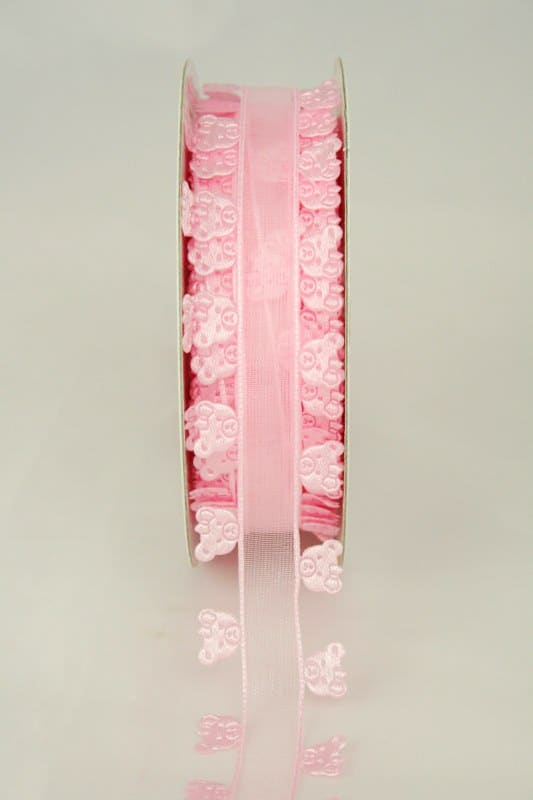 Organzaband mit ausgestanzten Bärchen, 25 mm, rosa - organzaband-gemustert, 30-rabatt