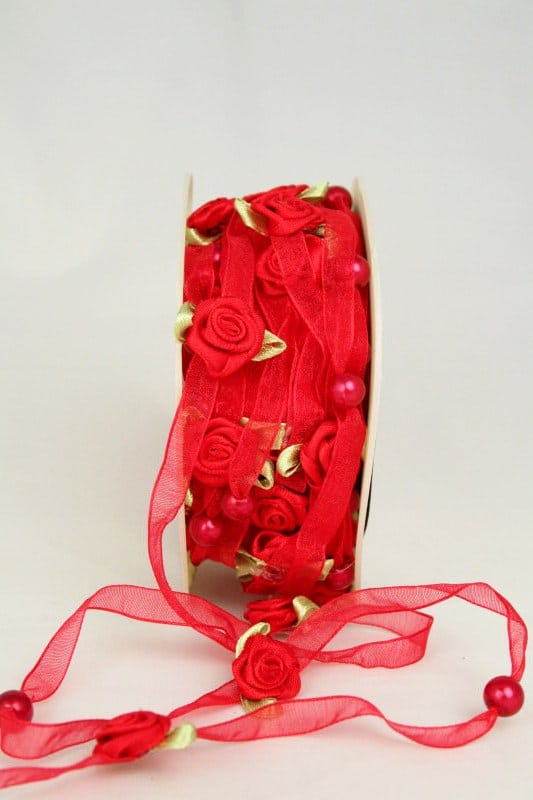 Organzaband mit Satin-Rosenblüten, rot, 6 mm - sonderangebot, organzaband