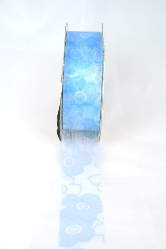 Organzaband mit Blüten, 25 mm breit, hellbau - organzaband-gemustert, 70-rabatt