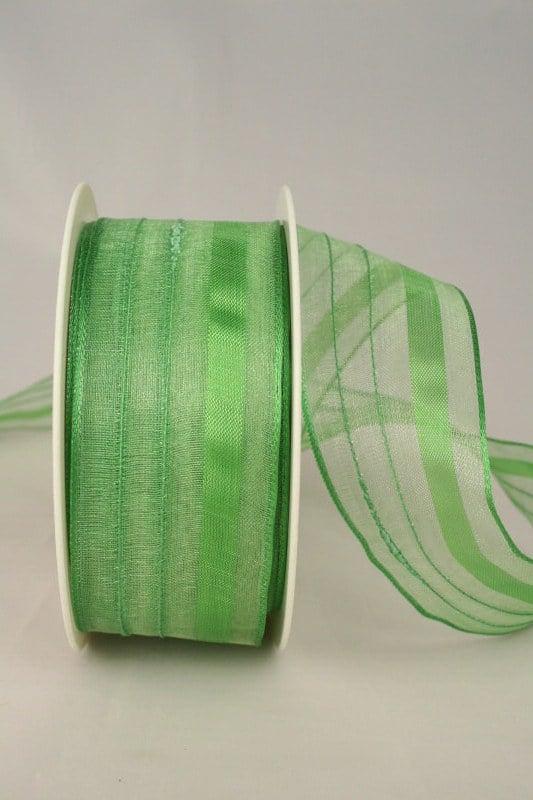 Organzaband mit Streifen, 40 mm breit, grün - organzaband-gemustert, organzaband-einfarbig, 50-rabatt