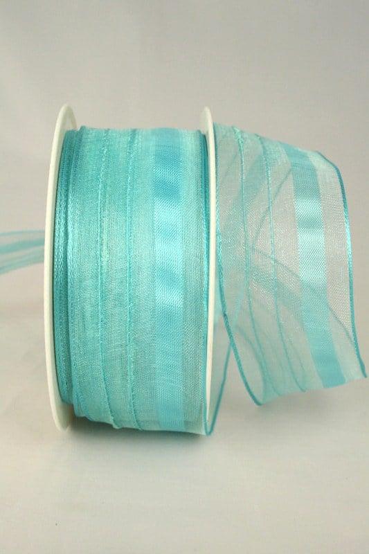 Organzaband mit Streifen, 40 mm breit, hellbau - organzaband-gemustert, organzaband-einfarbig, 50-rabatt