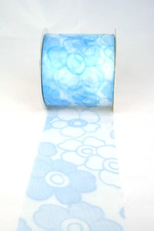 Organzaband mit Blüten, 70 mm breit, hellblau - organzaband-gemustert, 70-rabatt