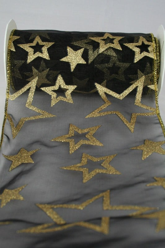 Organzaband-Tischband mit Sternen, schwarz, 150 mm - weihnachtsband, organzaband-weihnachten, geschenkband-weihnachten