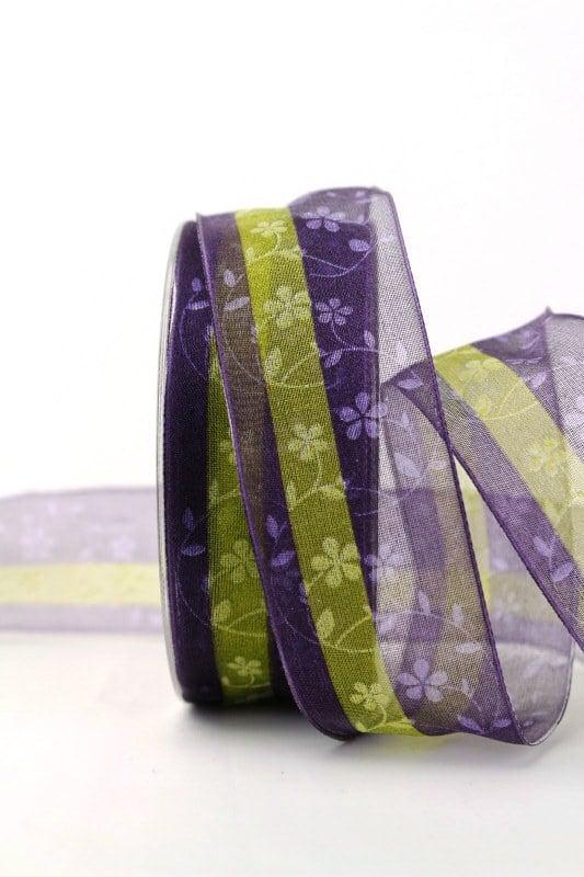 Organzaband lila/grün mit Blüten, 40 mm - organzaband-gemustert, 30-rabatt