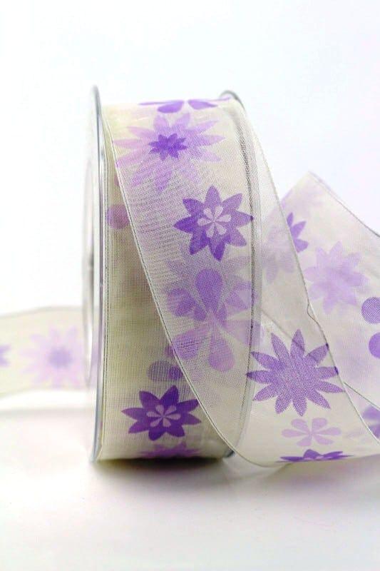 Organzaband lila mit Blüten, 40 mm - organzaband-gemustert, 20-rabatt