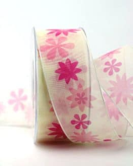 Organzaband pink mit Blüten, 40 mm - organzaband-gemustert, 20-rabatt