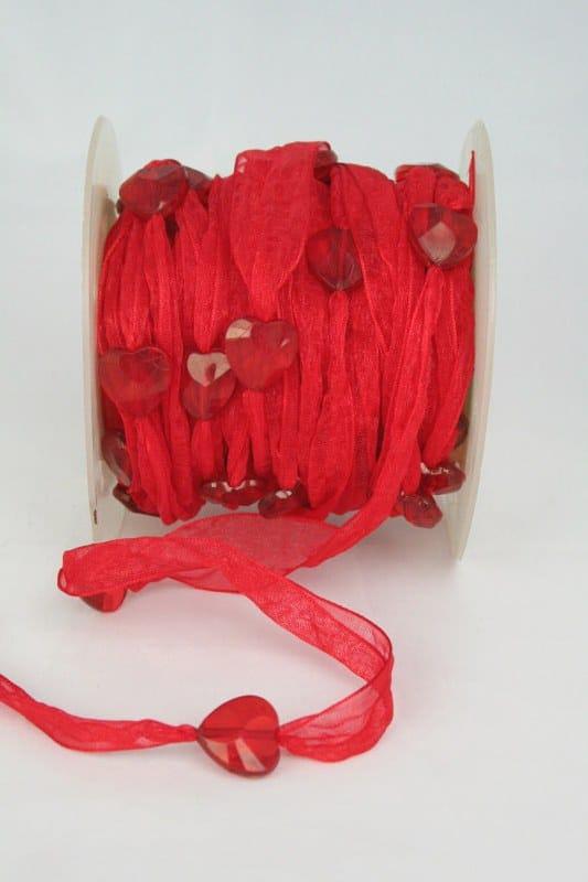Organzaband mit Herzen, rot, 18 mm - organzaband, 50-rabatt