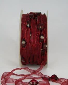 Organzaband mit Perlen, bordeaux, 8 mm - organzaband, 20-rabatt