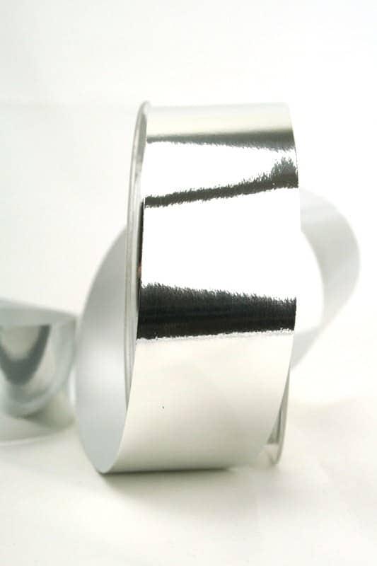 Wetterfestes Schleifenband silber metallic, 40 mm - weihnachtsband-gold-silber, weihnachtsband, polyband, outdoor-baender, geschenkband-weihnachten