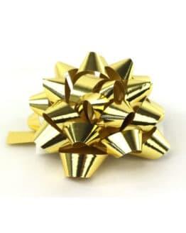 Polyband-Rosette, goldmetallic, 60 mm groß, 25 Stück - polyband, fertigschleifen