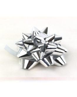 Polyband-Rosette, silbermetallic, 60 mm groß, 25 Stück - polyband, fertigschleifen