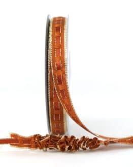 Dekoband Rips-/Satin rehbraun-gold, 15 mm breit - weihnachtsband, geschenkband-weihnachten-einfarbig, geschenkband-weihnachten