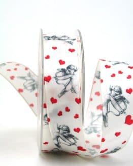 Satinband mit Amor, 25 mm breit - valentinstag, muttertag, hochzeit