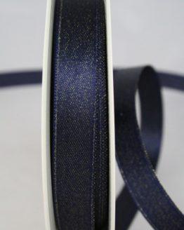 Glitzerndes Satinband blau-gold, 15 mm breit - weihnachtsband, satinband