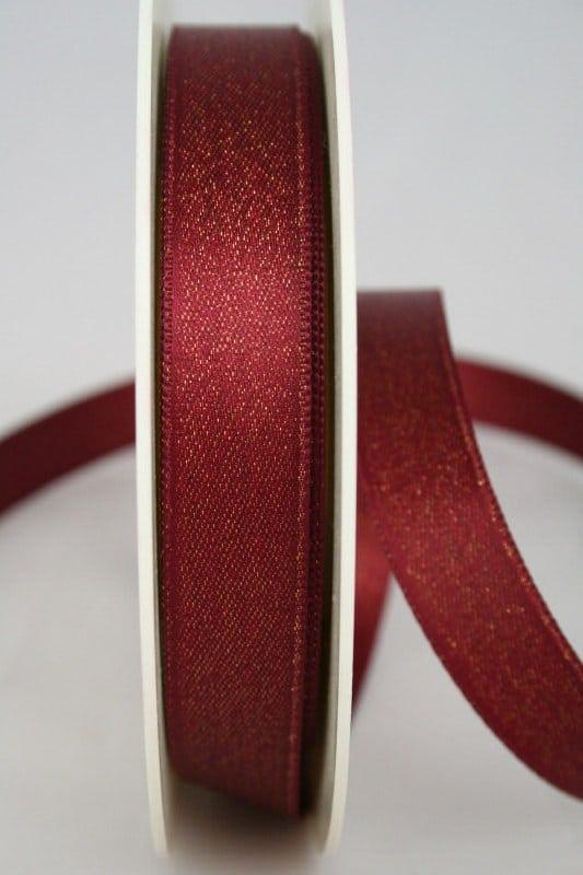 Glitzerndes Satinband bordeaux-gold, 15 mm breit - weihnachtsband, satinband