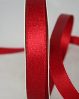 Glitzerndes Satinband rot-gold, 15 mm breit - weihnachtsband, satinband