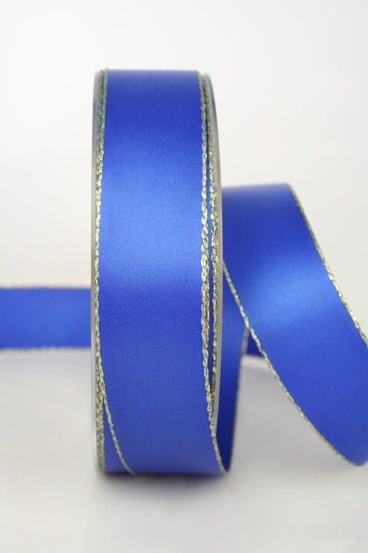 Satinband mit Goldkante, 25 mm breit, blau - satinband-m-goldkante