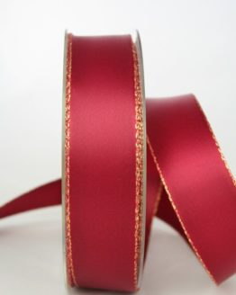 Satinband mit Goldkante, 25 mm breit, bordeaux - satinband-m-goldkante