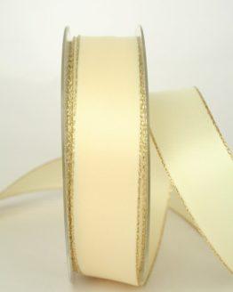 Satinband mit Goldkante, 25 mm breit, creme - satinband-m-goldkante