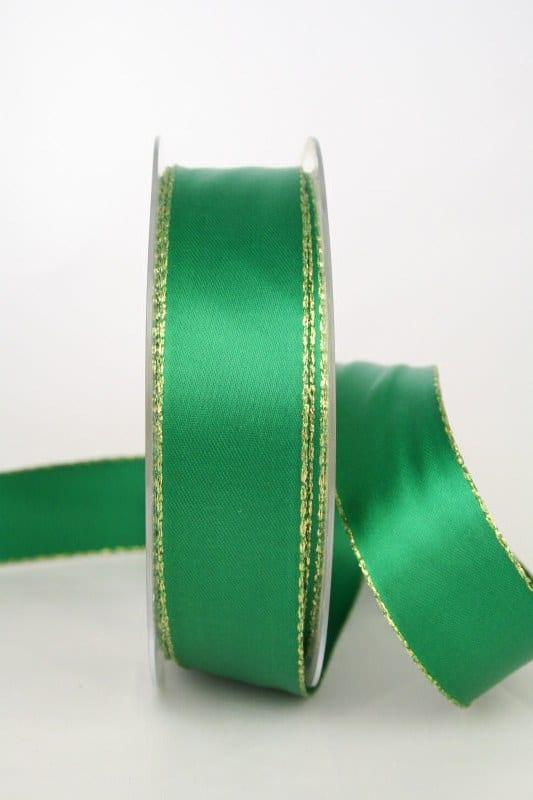 Satinband mit Goldkante, 25 mm breit, dunkelgrün - satinband-m-goldkante