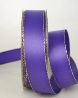 Satinband mit Goldkante, 25 mm breit, lila - satinband-m-goldkante