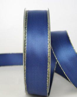 Satinband mit Goldkante, 25 mm breit, marine - satinband-m-goldkante