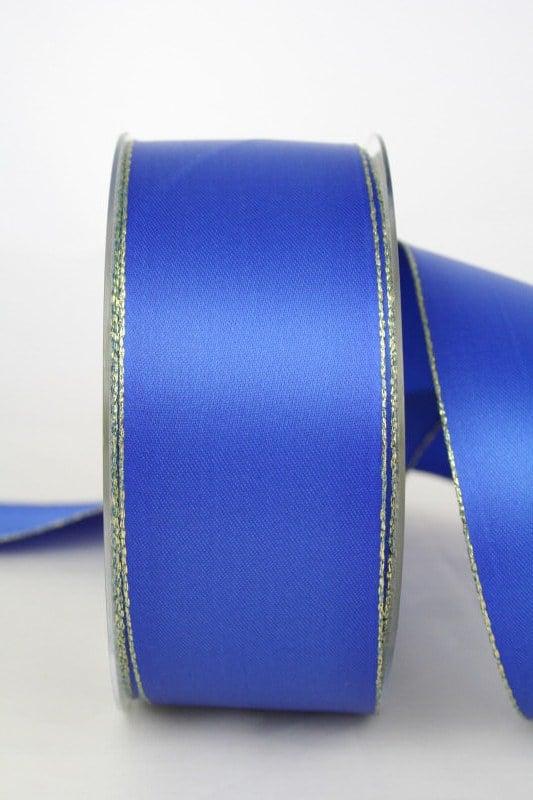Satinband mit Goldkante, 40 mm breit, blau - satinband-m-goldkante