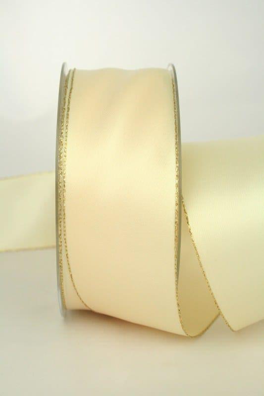 Satinband mit Goldkante, 40 mm breit, creme - satinband-m-goldkante