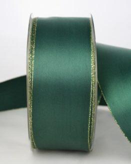 Satinband mit Goldkante, 40 mm breit, dunkelgrün - satinband-m-goldkante