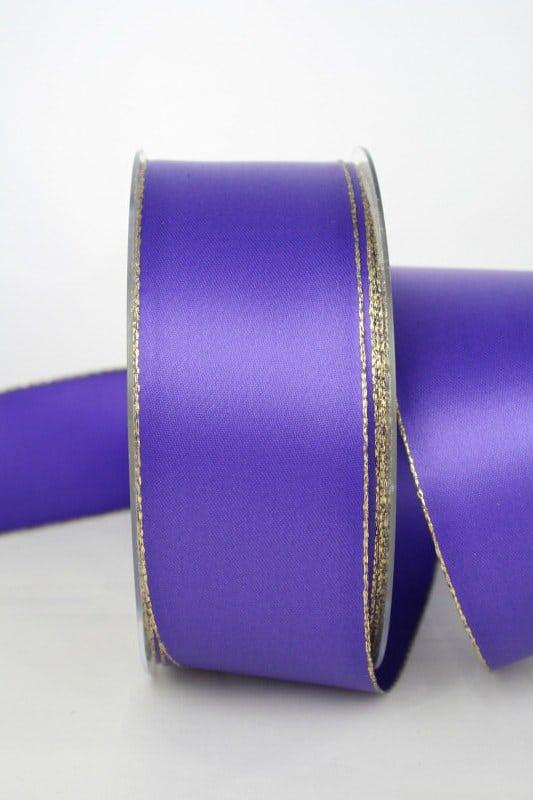 Satinband mit Goldkante, 40 mm breit, lila - satinband-m-goldkante