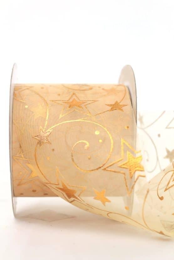 Schleifenband Chiffon Sterne, creme-gold, 70 mm - weihnachtsband, organzaband-weihnachten, geschenkband-weihnachten