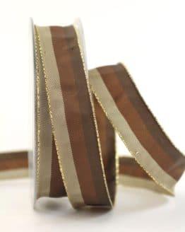 Weihnachtsband Streifen, braun-taupe, 25 mm breit - webkante, geschenkband-weihnachten-gemustert, geschenkband-weihnachten