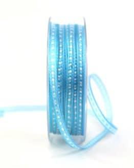 Schmales Geschenkband, aqua, 10 mm breit - geschenkband-gemustert, dekoband