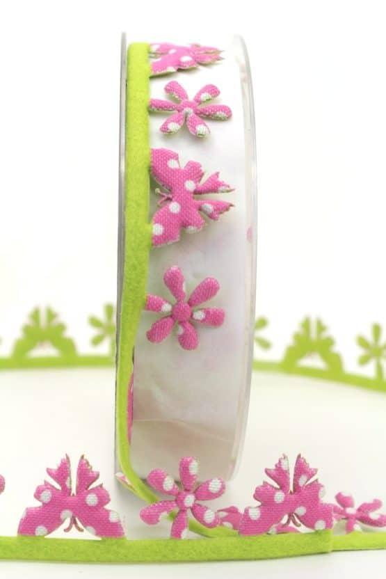 Girlande m. Schmetterlingen u. Blüten, pink gepunktet - dekogirlande