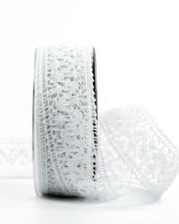Häkelspitze, weiß, 38 mm breit - vintage-baender, spitzenbaender, hochzeit