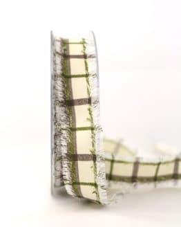 Stoffband Karo grün, 25 mm breit - karoband, karierte-baender, geschenkband-kariert