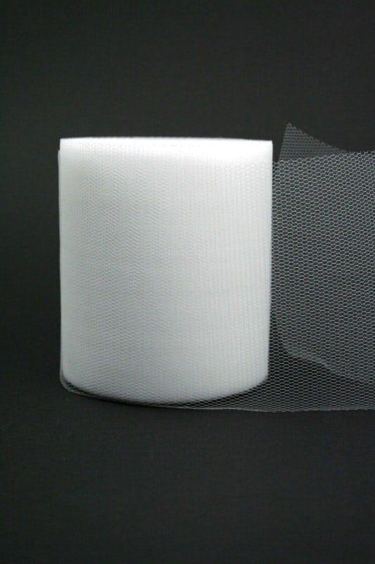 Tüll weiß, 100 mm breit - tuellband, outdoor-baender, hochzeit